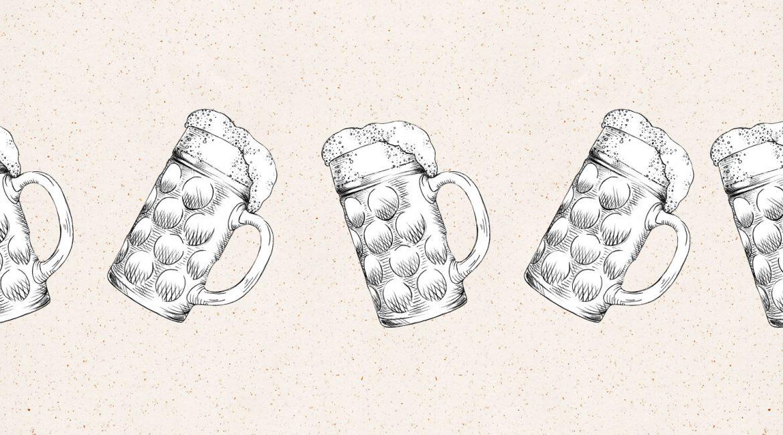5 Gezeichnete Biergläser auf einem Papierhintergrund