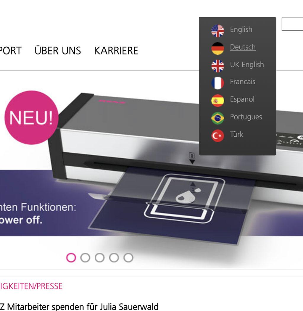 Screenshot von der Sprachenauswahl der Website