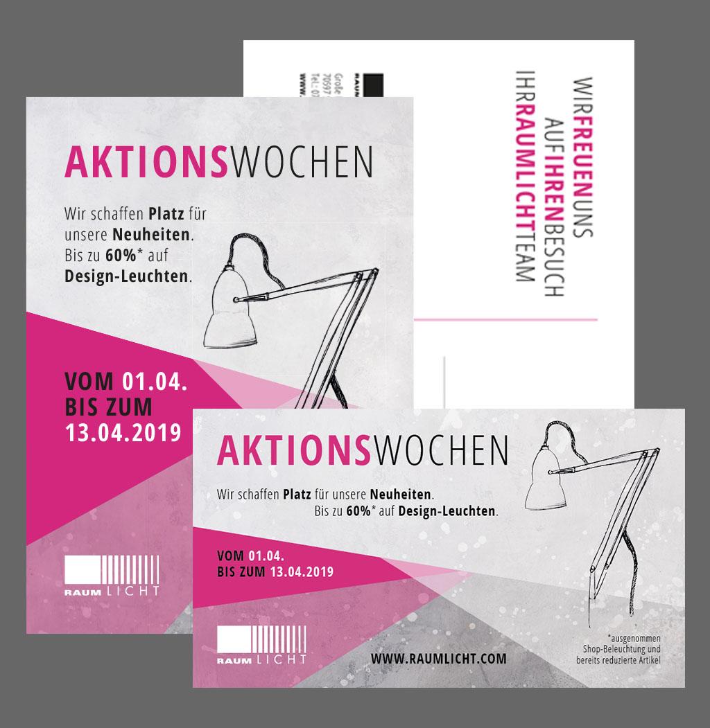 Kampagne zu den Aktionswochen, Postkarte und Anzeige